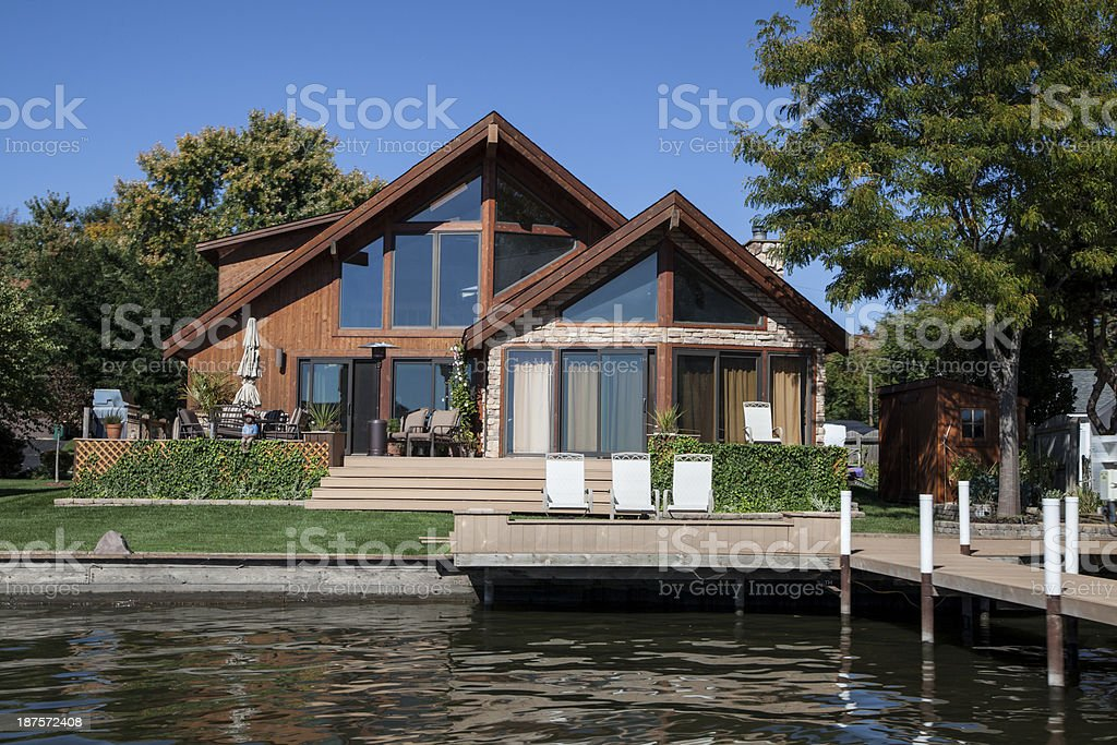 Lakeside home in autumn royalty-free stock photo