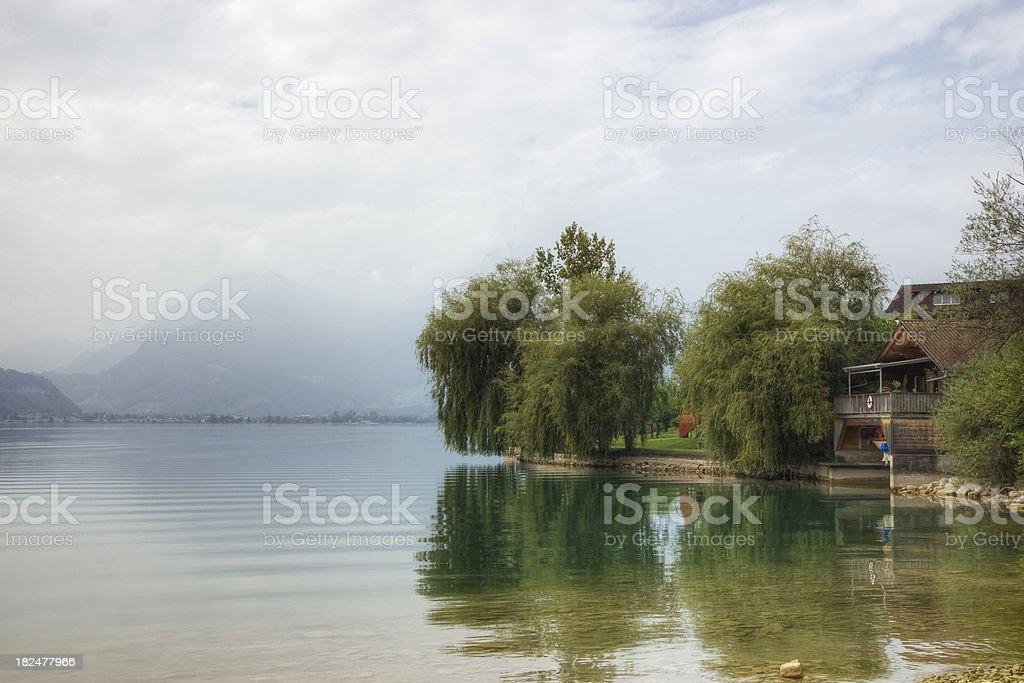 Lakeside Home in Switzerland stock photo