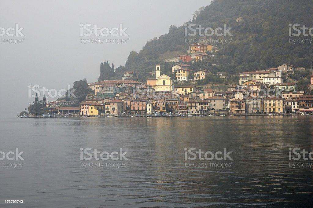 Lakeside houses Lake Iseo Italy stock photo