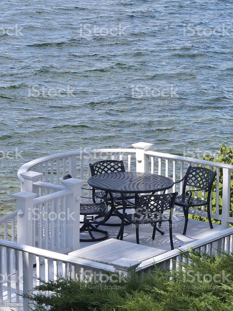 Lakeside lifestyle of casual elegance stock photo