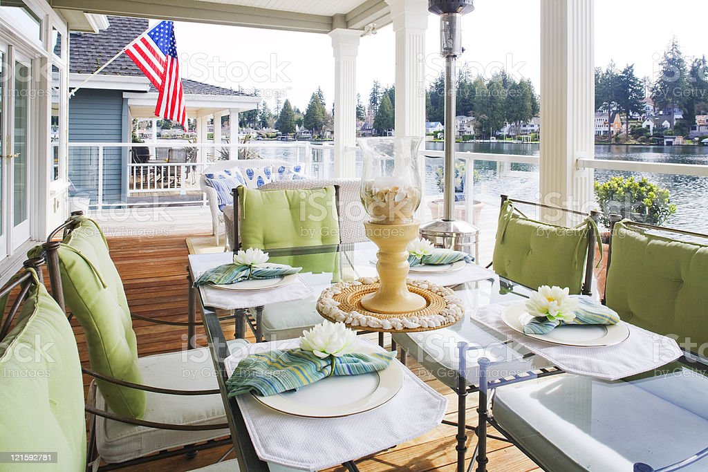 Lakeside outdoor dining royalty-free stock photo