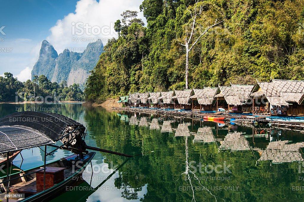 Lakeside Raft Houses, Khao Sok National Park stock photo