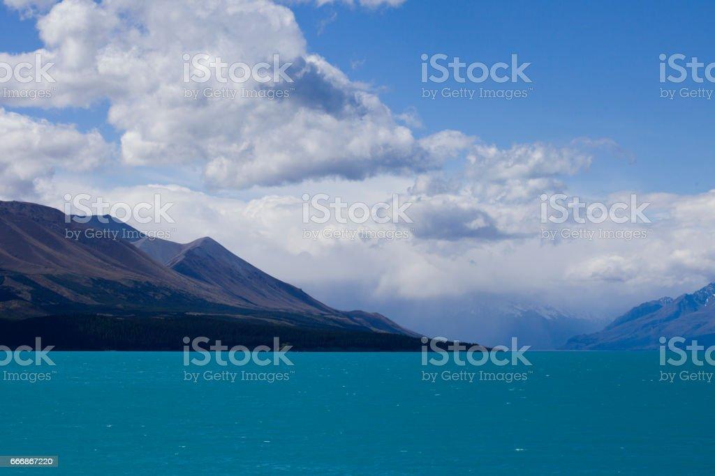 Lakeside scenery in New Zealand stock photo