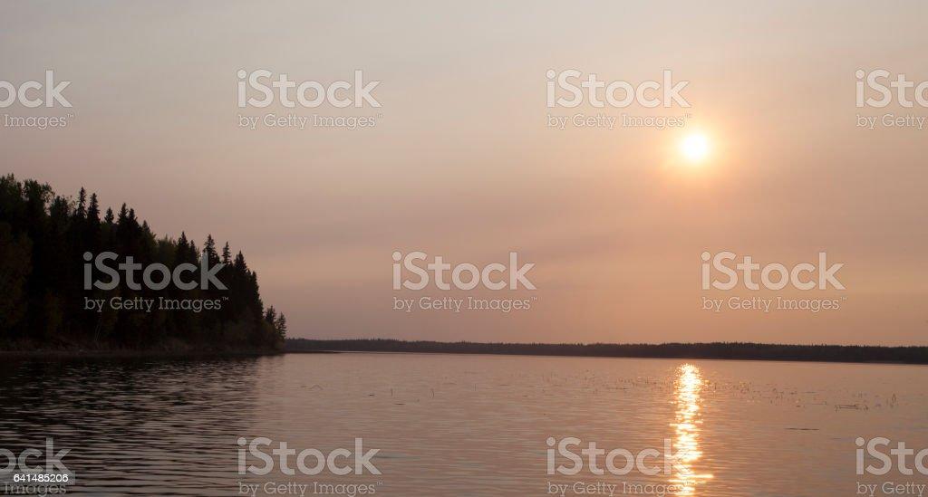 Lakeside sunrise in Canada stock photo
