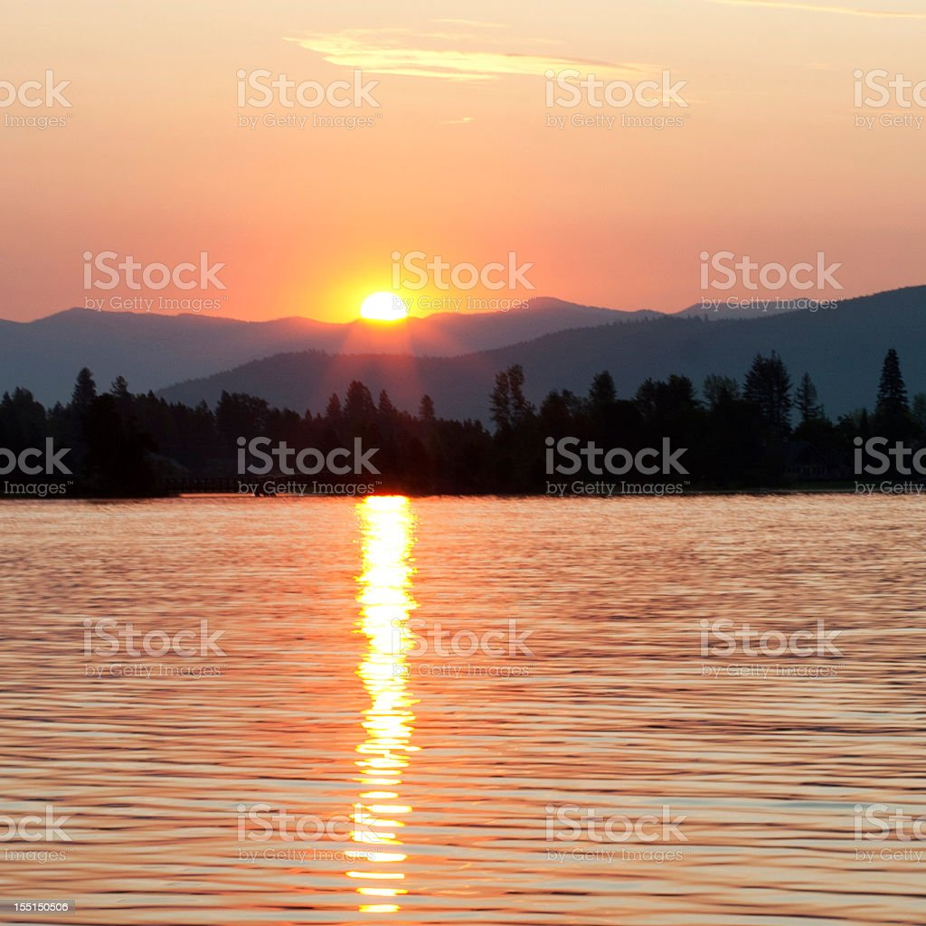 Lakeside sunset royalty-free stock photo