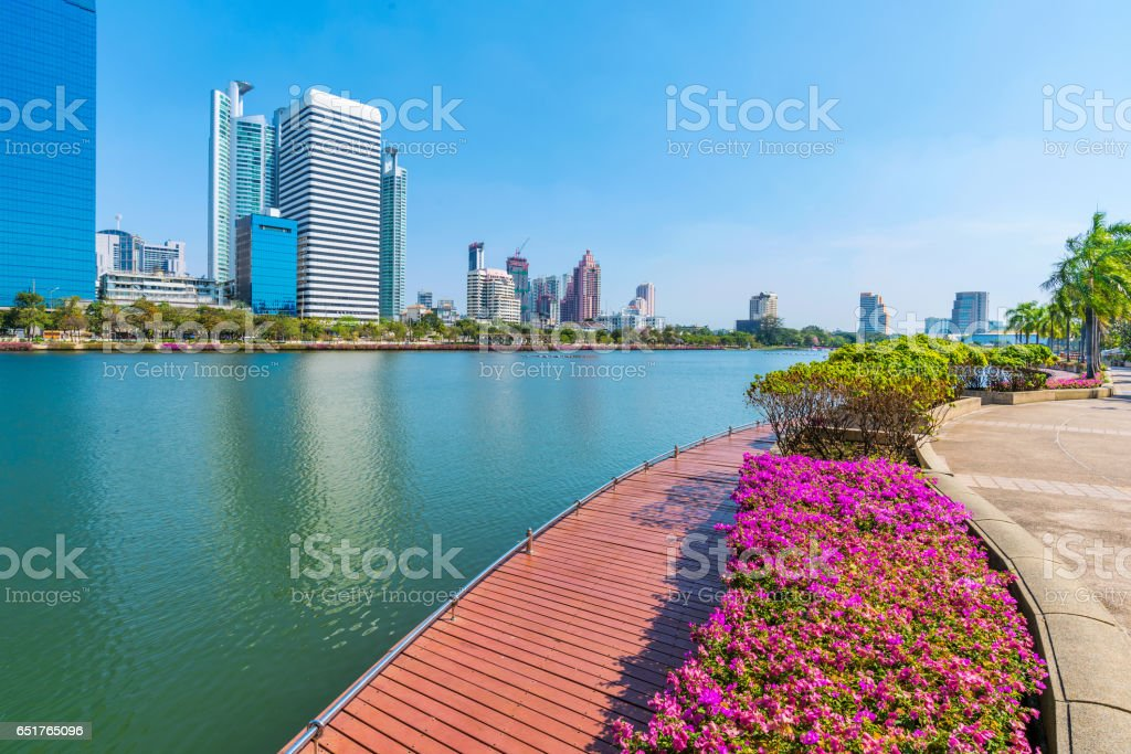 Lakeside view of Benjakitti park stock photo