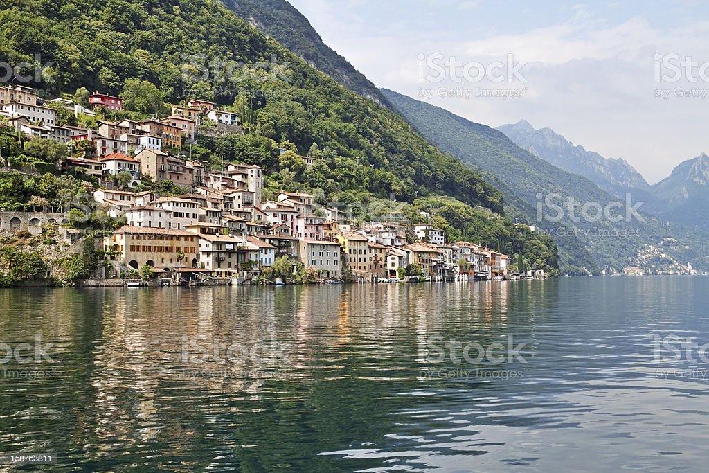 Lakeside village stock photo