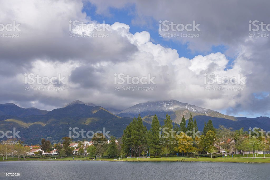 Lakeside with beautiful clouds royalty-free stock photo