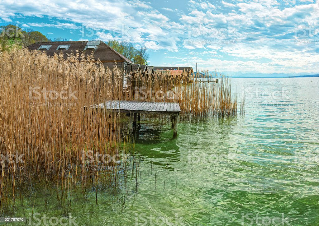 Lakeside with pontoon panorama royalty-free stock photo