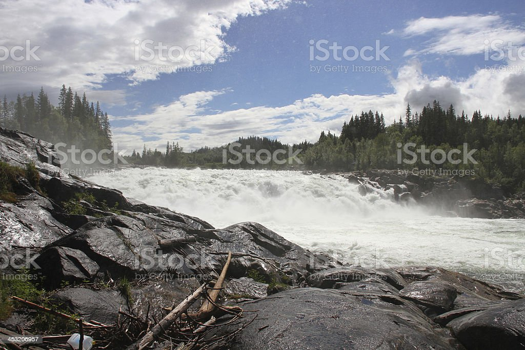 Laksforsen waterfall royalty-free stock photo