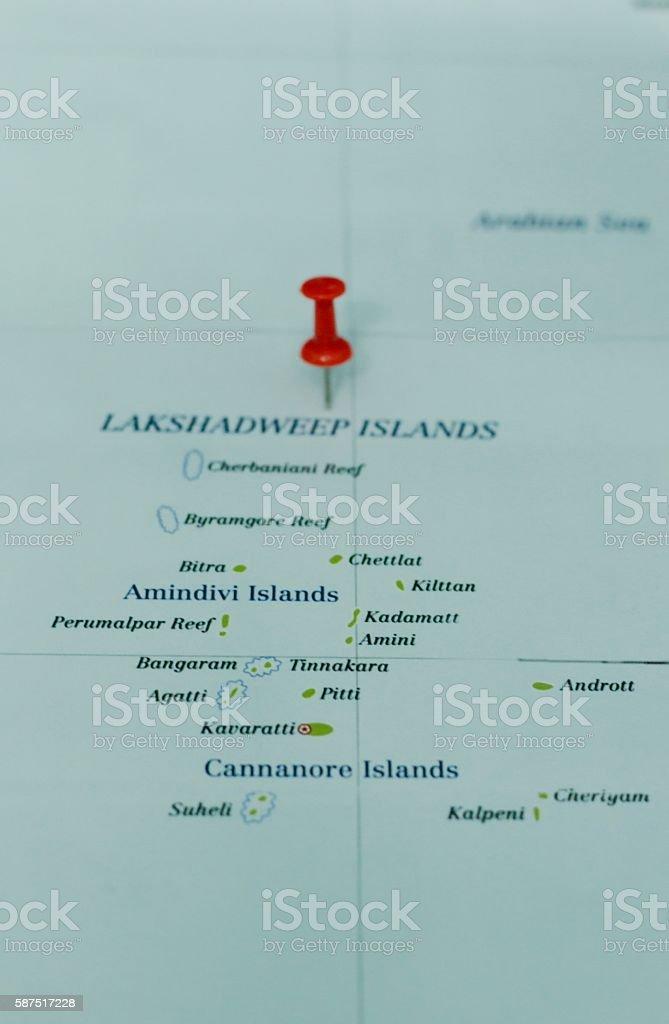Lakshadweep Islands map stock photo