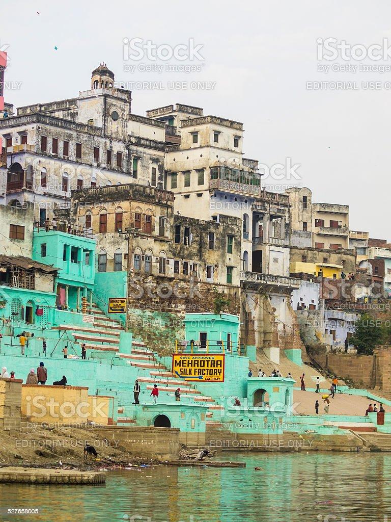 Lal Ghat in Varanasi stock photo