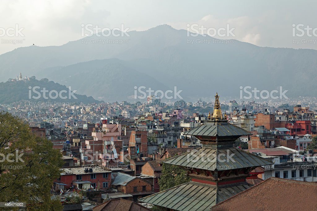 Lalitpur, Kathmandu rooftop view stock photo