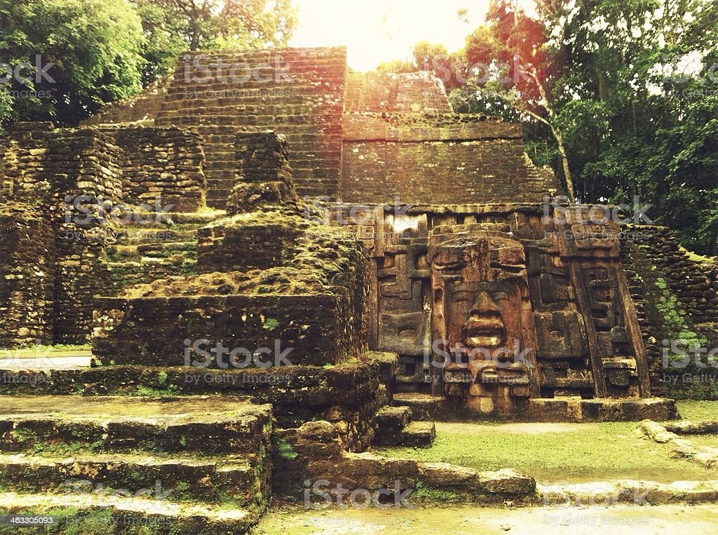 Lamanai Mask Temple - Belize stock photo