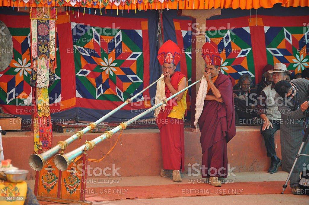 Lamas (monks) perform mystic mask dances stock photo