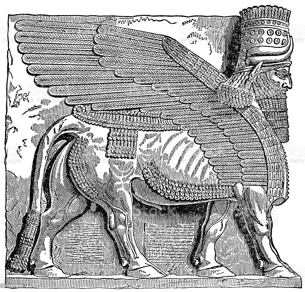 Lamassu - Assyrian God With A Body Of A Bull stock photo