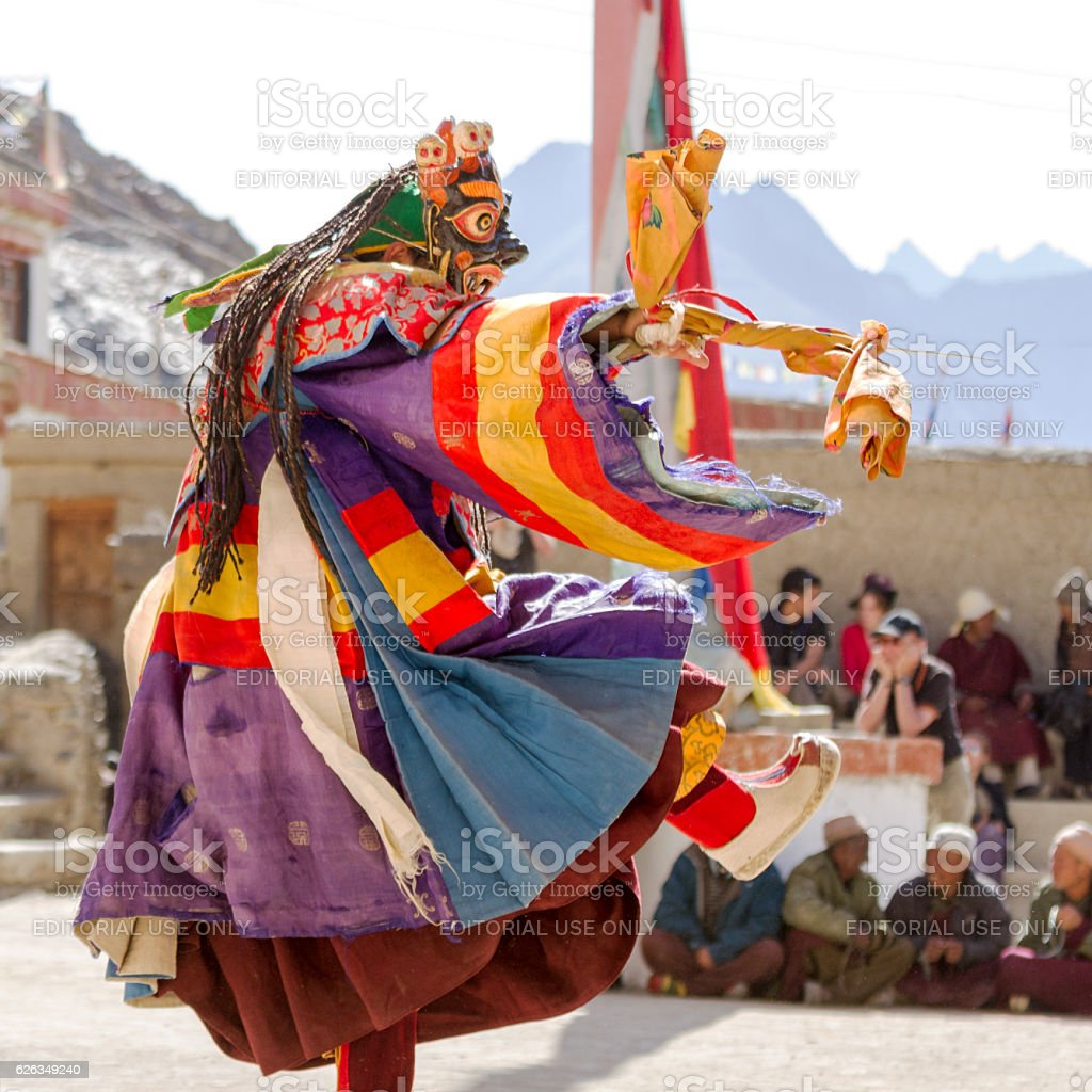 Lamayuru. Monk in mask performs buddhist sacred cham dance stock photo