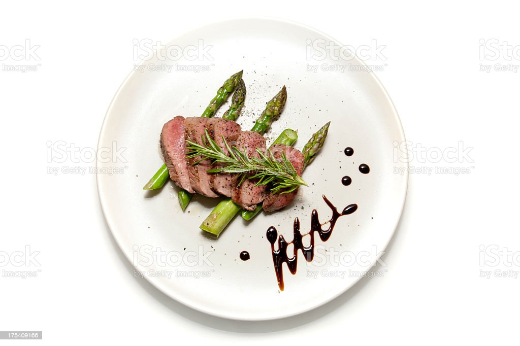 Lamb and Aparagus stock photo
