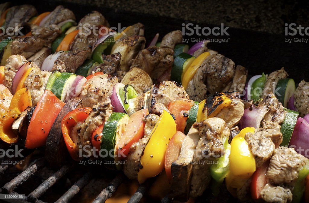 lamb and vegetable kabobs stock photo
