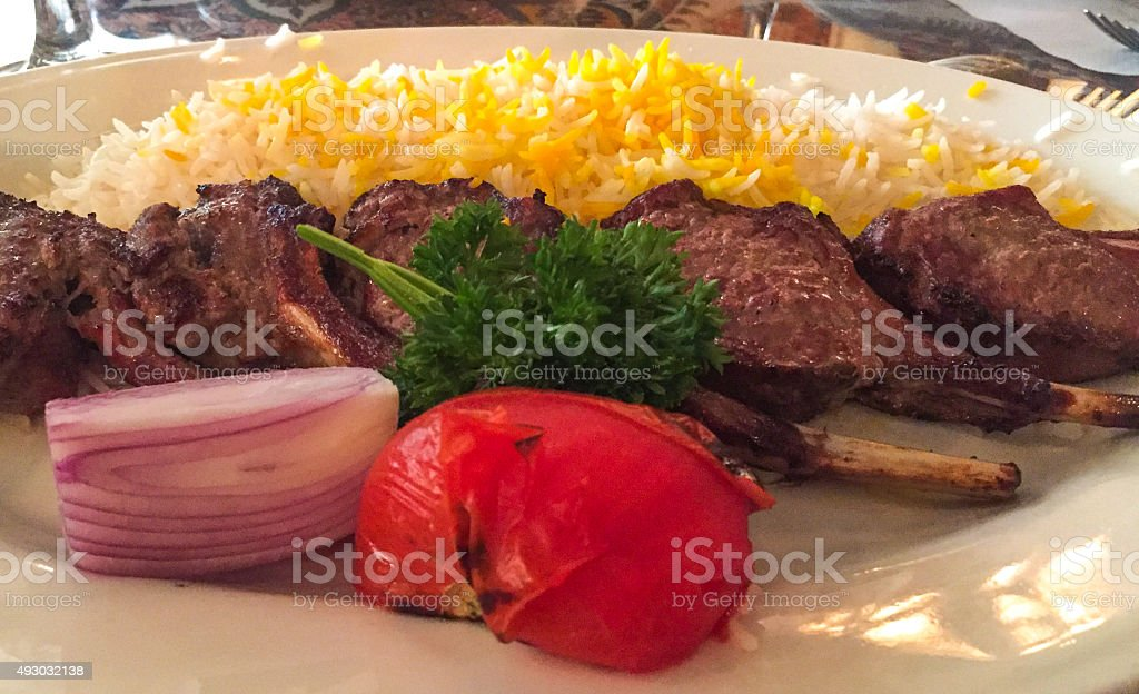 Lamb at Persian Restaurant stock photo