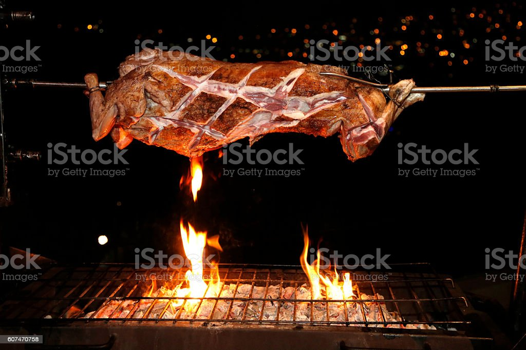 lamb being coocked stock photo