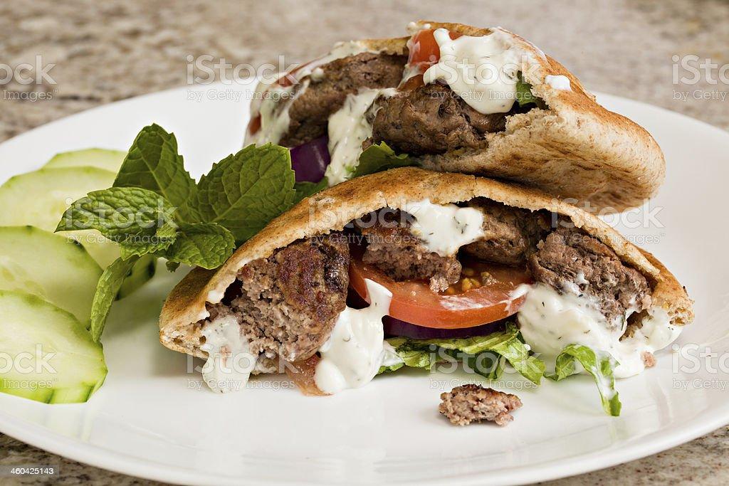 Lamb Burgers stock photo
