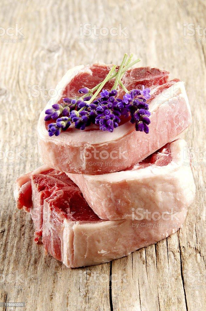 lamb chop and lavender royalty-free stock photo