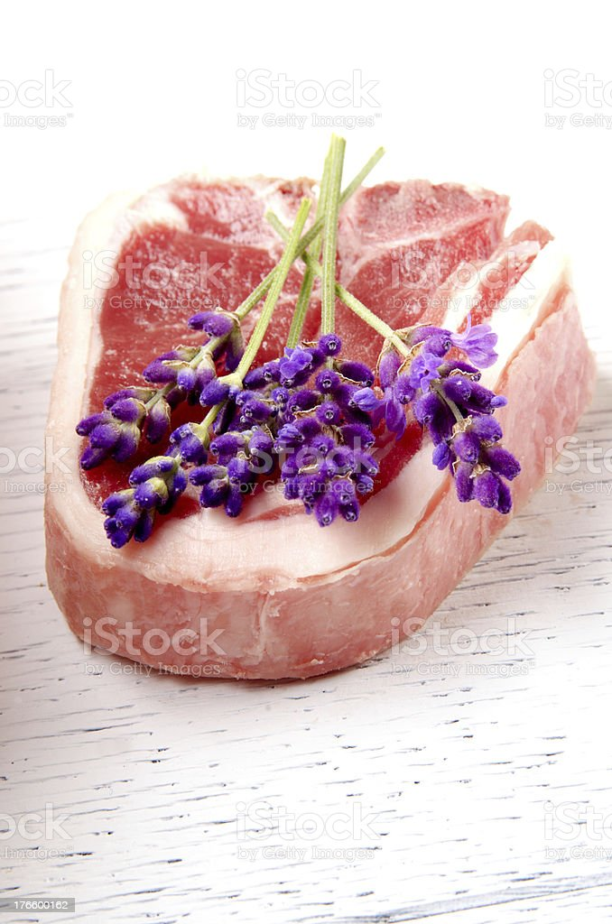 lamb chop and lavender royalty-free stock photo