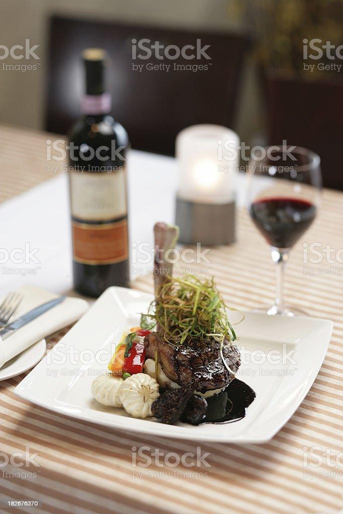 Lamb chop and vino royalty-free stock photo