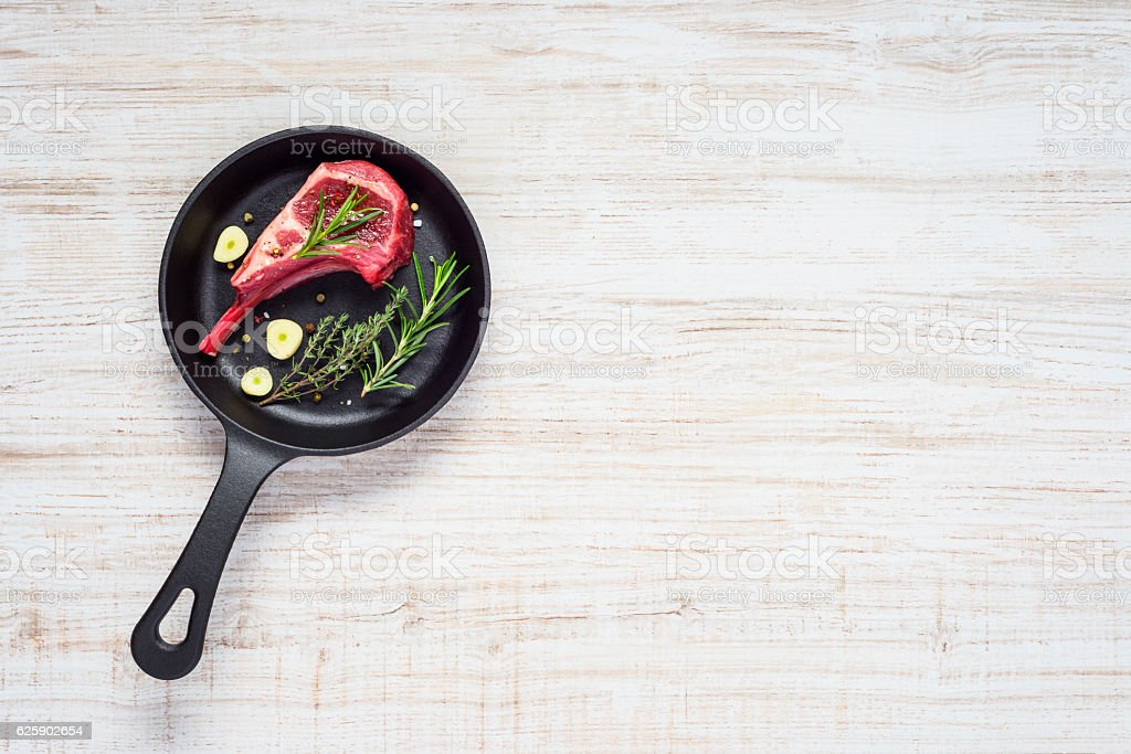 Lamb Chop in Pan and Copy Space stock photo