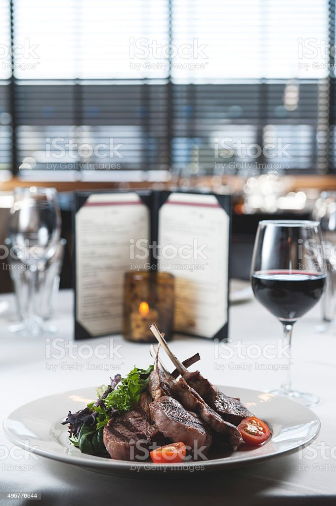 Lamb chop in restaurant /Food and Drink (Click for more) stock photo