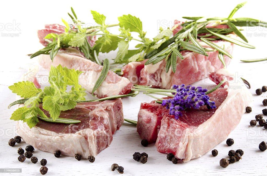 lamb chops and herbs royalty-free stock photo