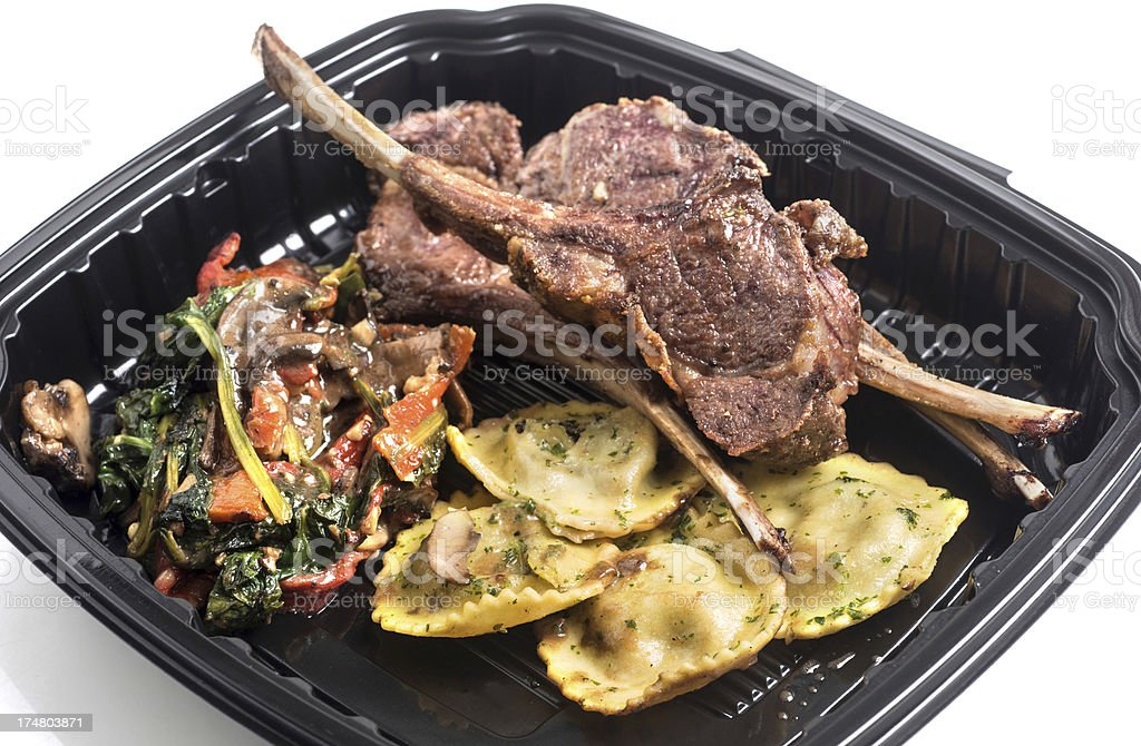 Lamb chops and Ravioli lunch pack royalty-free stock photo