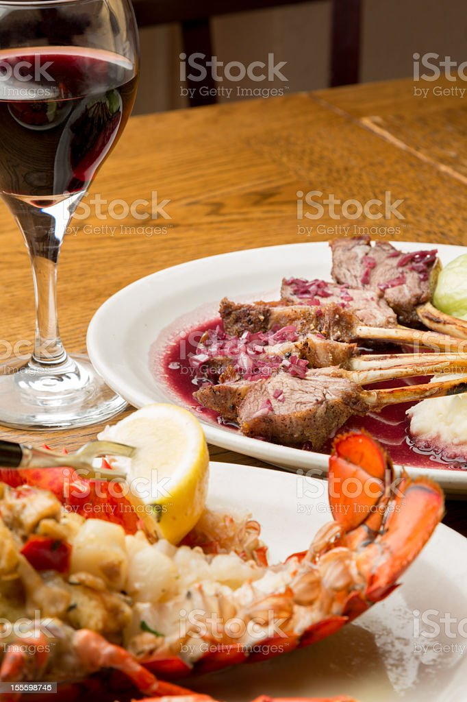 Lamb Chops and Stuffed Lobster royalty-free stock photo