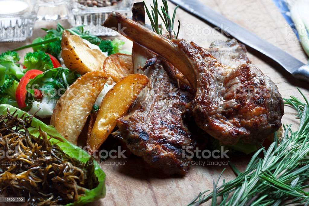 Lamb Chops and Vegetables stock photo