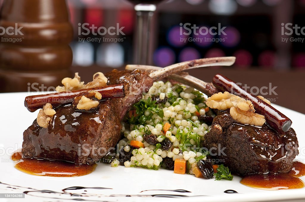 Lamb chops in restaurant royalty-free stock photo