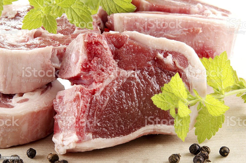 lamb chops with mint and peppercorn royalty-free stock photo