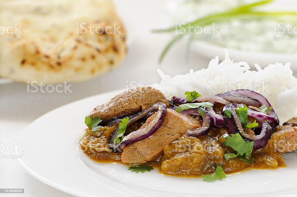 Lamb curry with rice stock photo