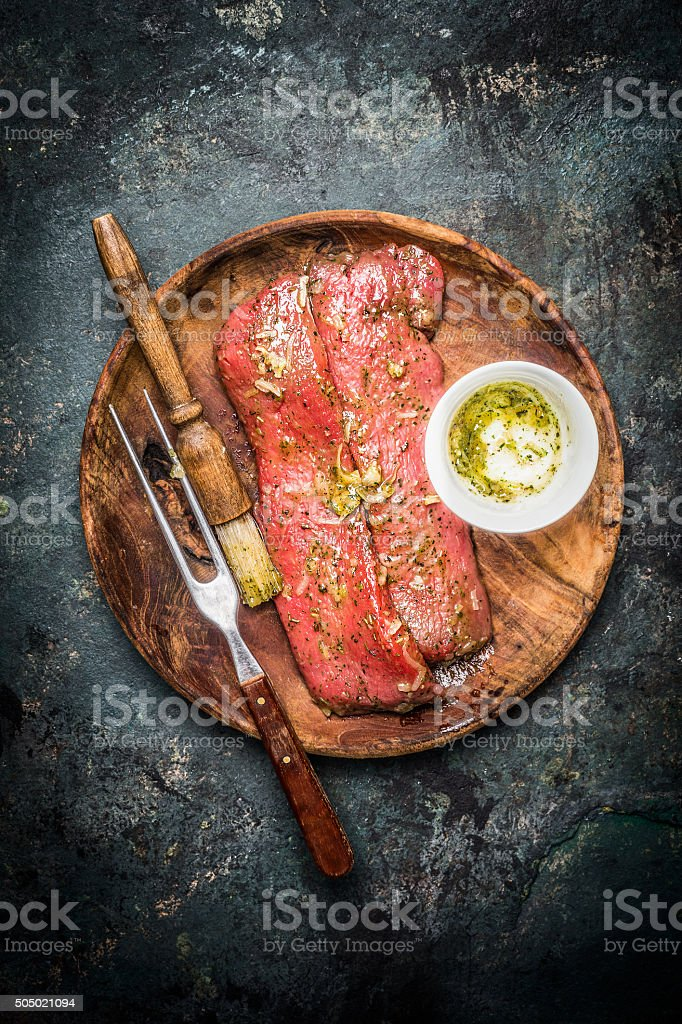 Lamb fillet for cooking or BBQ grill , top view stock photo