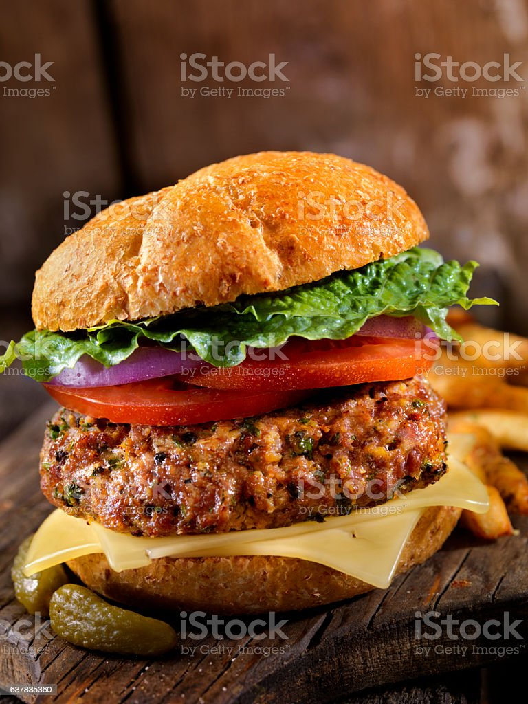 100% Lamb -Greek Burger stock photo