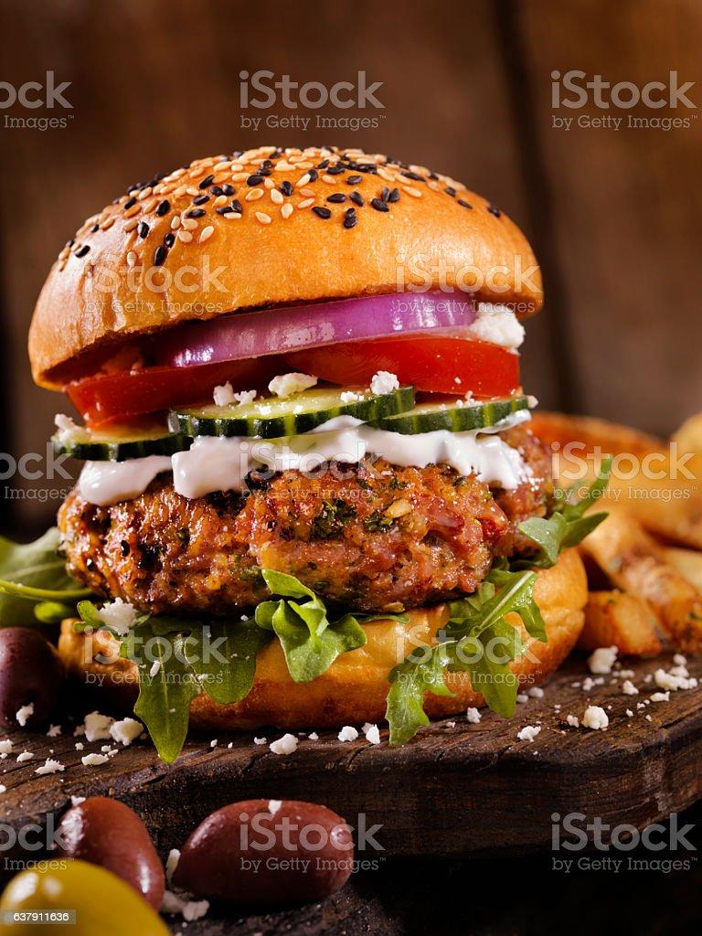 100% Lamb -Greek Burger stock photo