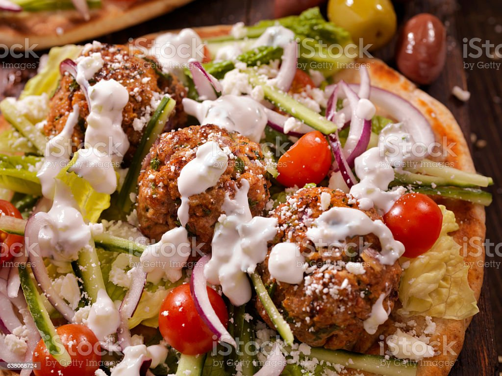 100% Lamb -Greek Meatball Souvlaki Wrap stock photo