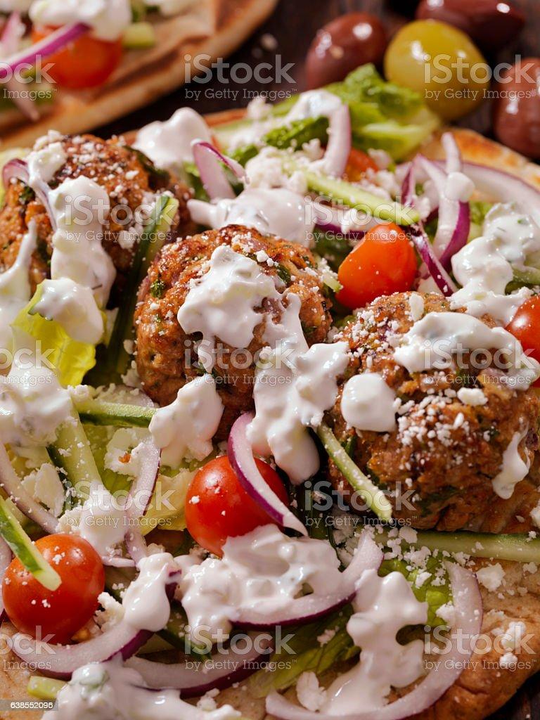 100% Lamb -Greek Meatball Souvlaki Wrap stock photo