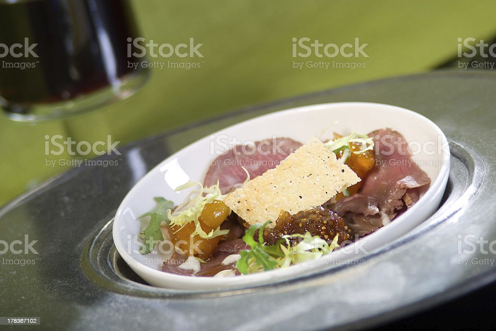 Lamb ham with apricot chutney. royalty-free stock photo