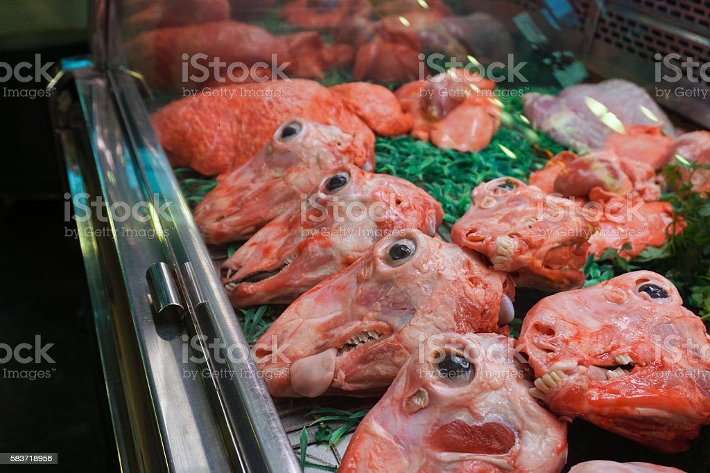 Lamb Heads for Sale in Barcelona, Spain stock photo