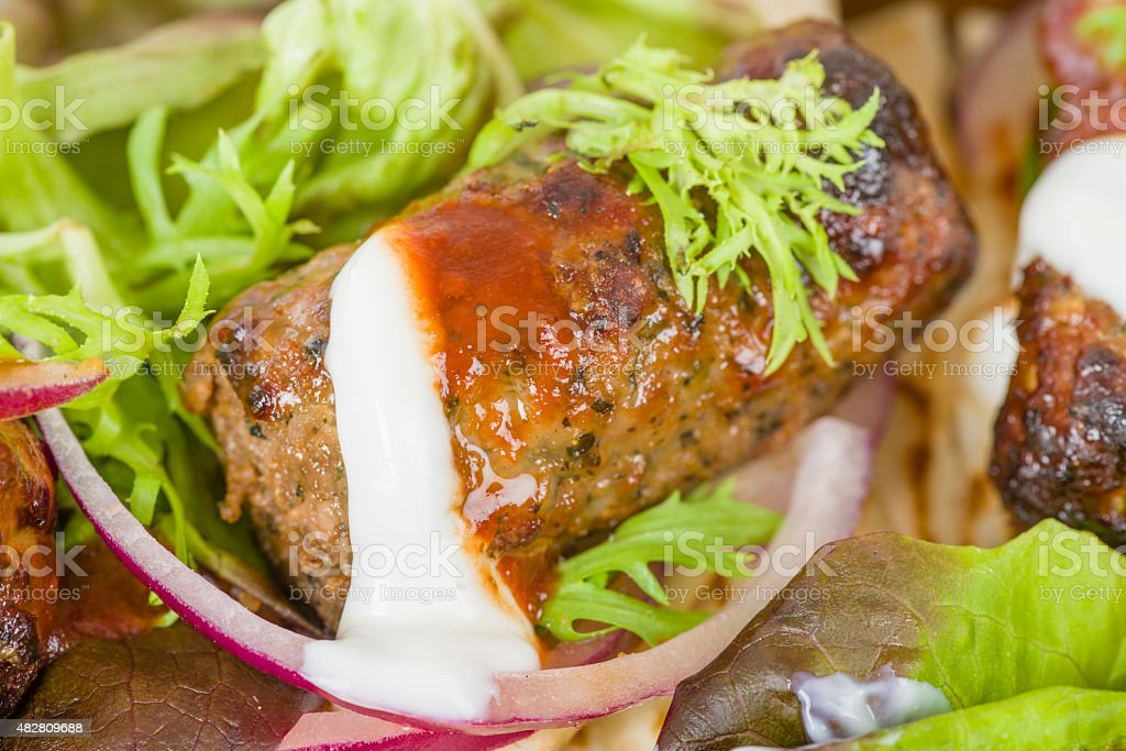 Lamb Kebabs in Flatbread stock photo
