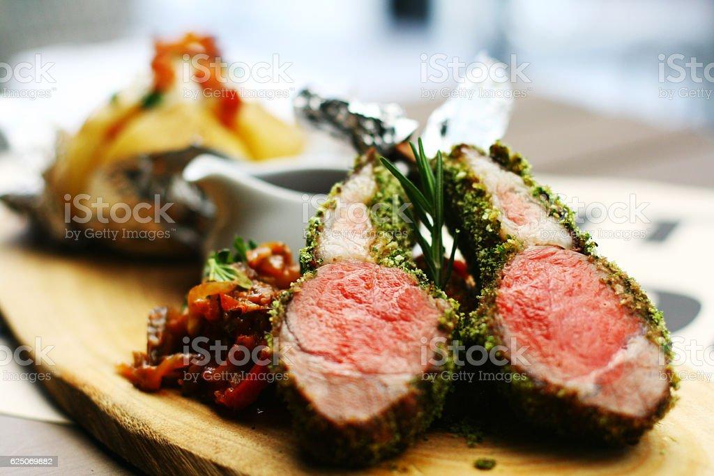 Lamb leg stock photo