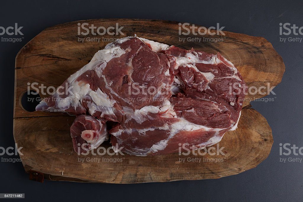 Lamb Leg Raw Meat stock photo