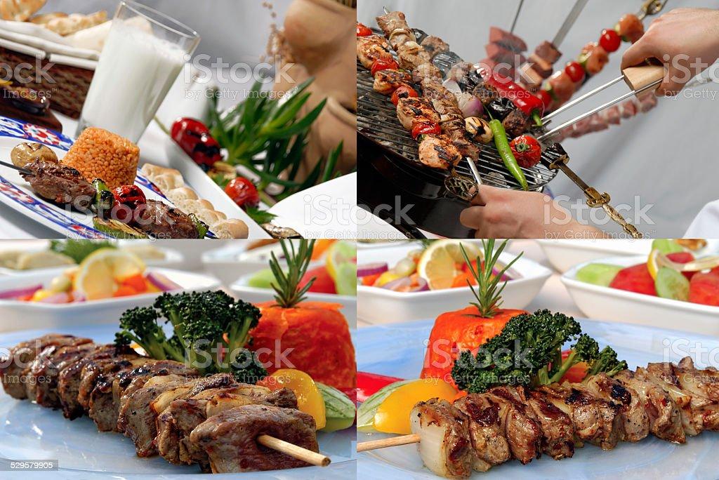 Lamb meat shish kebab stock photo