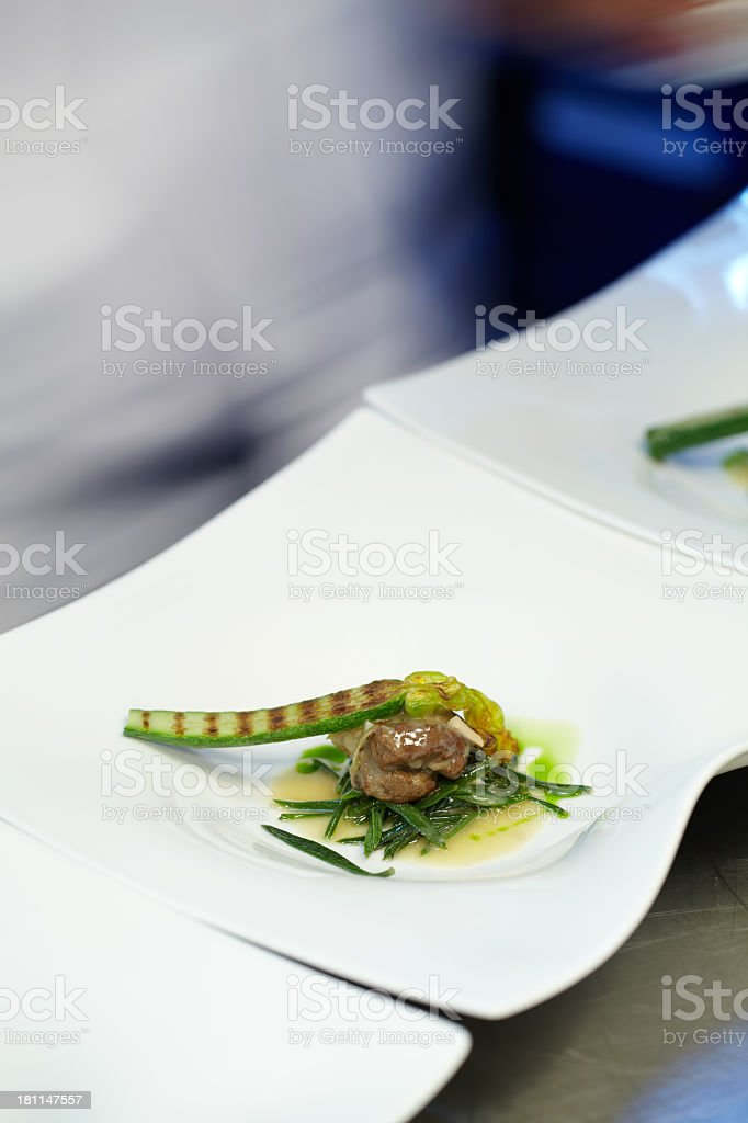 Lamb meat with rosemary and zucchini royalty-free stock photo